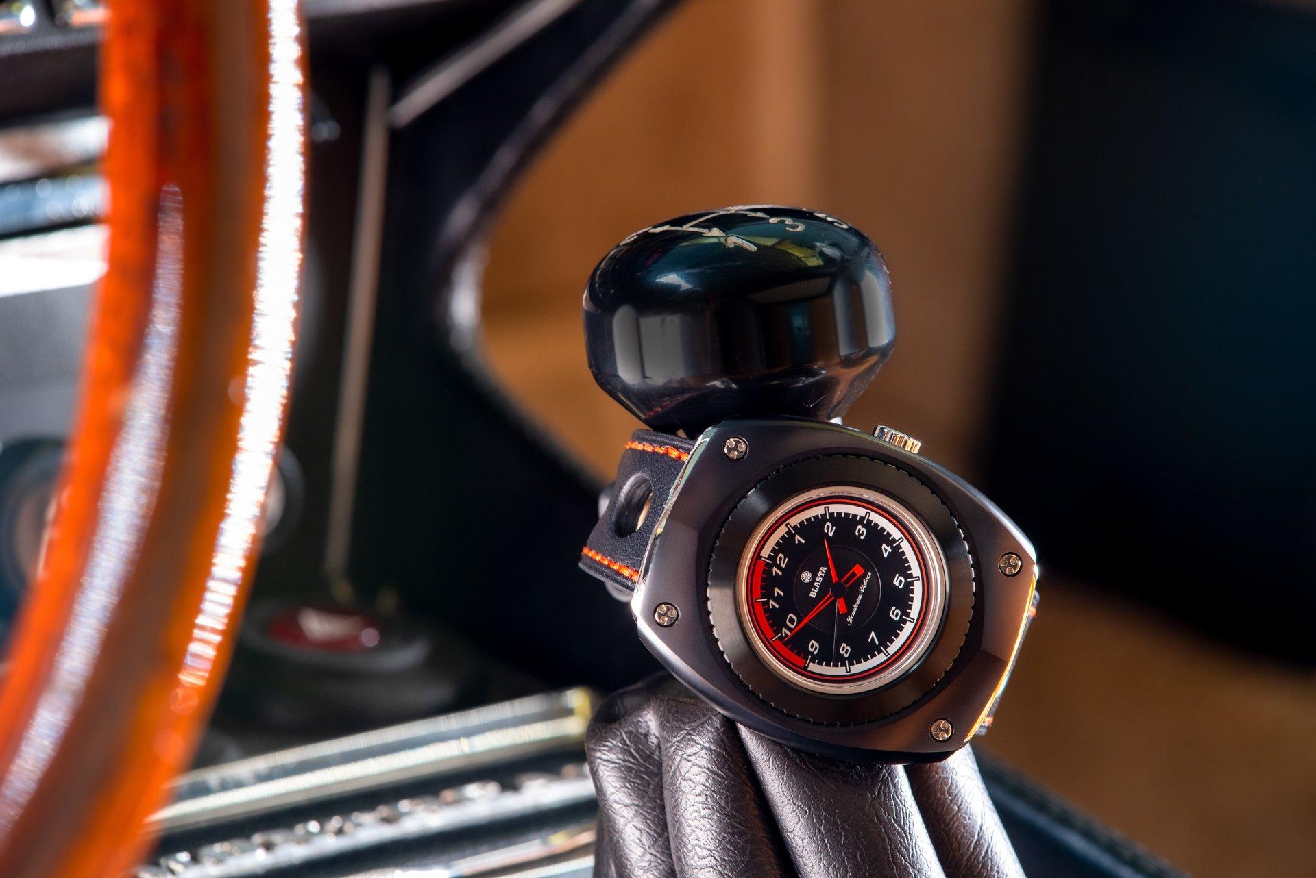 Blasta Watch Scuderia Veloce, nero profondo Photo taken on the gar lever of a Alfa Romeo Montreal.