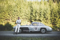 "AROSA, SWITZERLAND – 01. September 2019: The IWC Racing Team showed up on the grid of the 15th Arosa Classic Car for the second time. Bernd Schneider drove the Mercedes-Benz 300 SL ""Gullwing"" on the winding 7.3 kilometre hill-climb route from Langwies to Arosa. (Photo by Matthieu Bonnevie for IWC)"