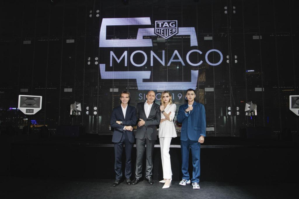 Monaco 5th limited editon launch in Shanghai_Group photo: Romain Millet, Stéphane Bianchi, Cara Delevingne, Li Yifeng