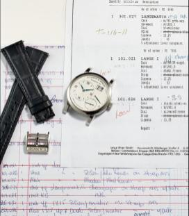 "Ref. 101.026 An extremely rare and important stainless steel wristwatch with oversized date and power reserve, in ""New Old Stock"" condition (image courtesy of Phillips Auction)"