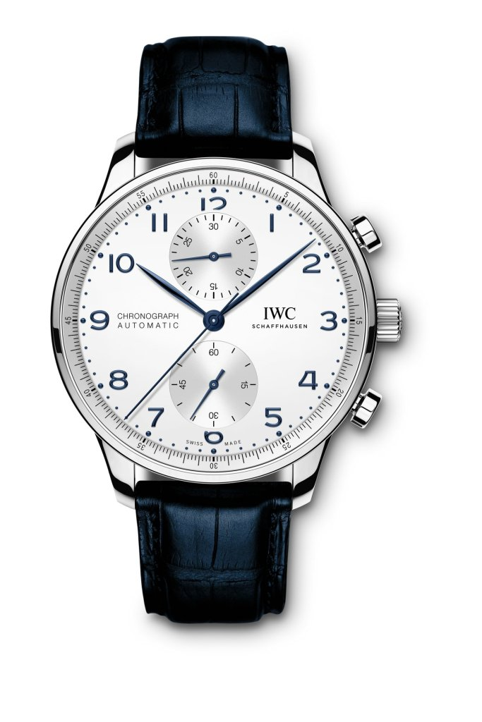 IWC Portugieser Chronograph Ref. IW371605: Stainless-steel case, silver-plated dial, blue hands and appliqués, black alligator leather strap.