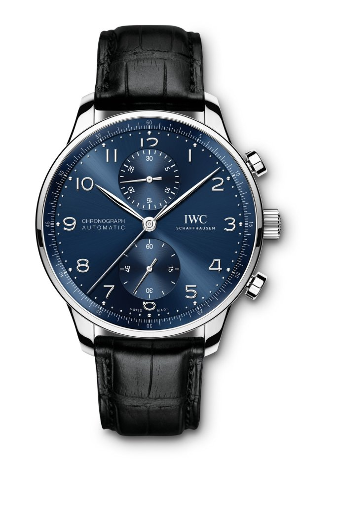 IWC Portugieser Chronograph Ref. IW371606: Stainless-steel case, blue dial, rhodium-plated hands and appliqués, black alligator leather strap.