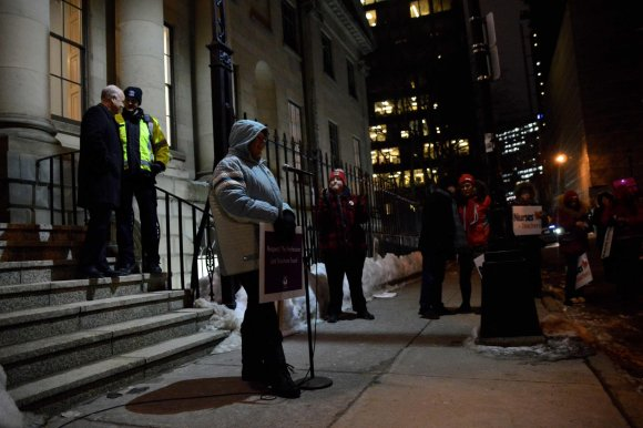 Frances Buott, mother and supporter, speaks to the crowd at the rally. (Photo: Fadila Chater)