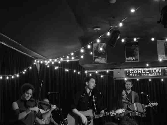 The Jerry Cans at The Carleton. Andrew Morrison (Vocal/Guitar), Gina Burgess (Violin), Brendan Doherty (Bass), Steve Rigby (Drums), Special guest Riit (Throat Singing/Accordion). (Photo: Karli Zschogner)
