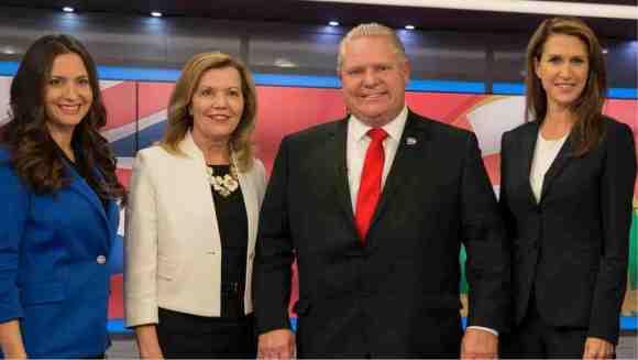 PC leadership candidates left to right: Tanya Granic Allen, Christine Elliott, Doug Ford, Caroline Mulroney.(Courtesy David Donnelly/CBC)