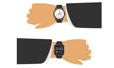 right and left wrists with watch on each