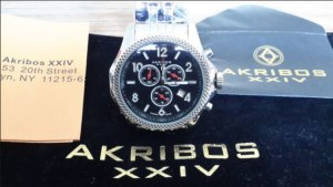 Akribos watch in marketing package