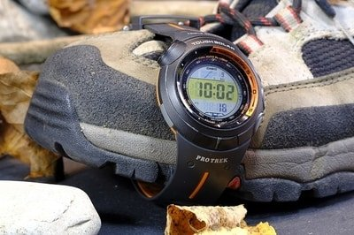 hiking boot and watch
