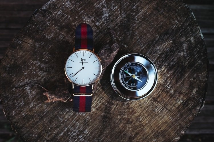 watch and compass on map