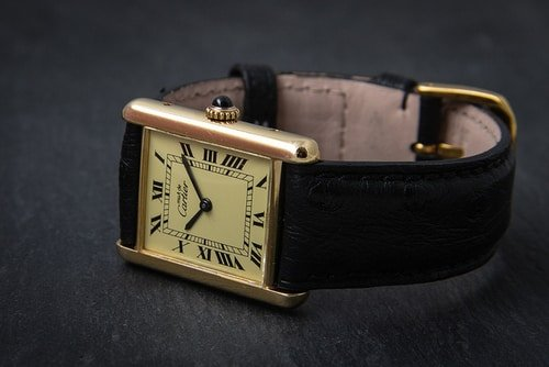 classic rectangular watch by Cartier