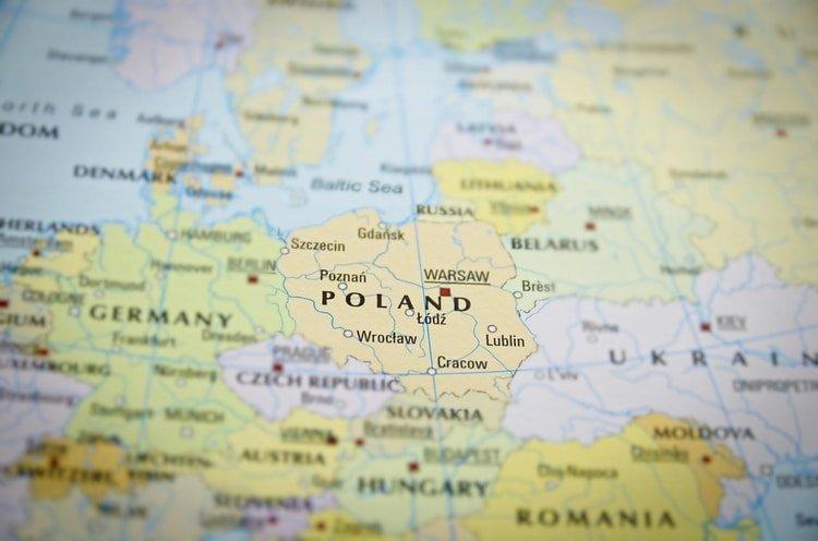 poland map in focus