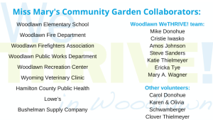 list of volunteers, organizations, departments and businesses involved with Miss Mary's community garden in woodlawn