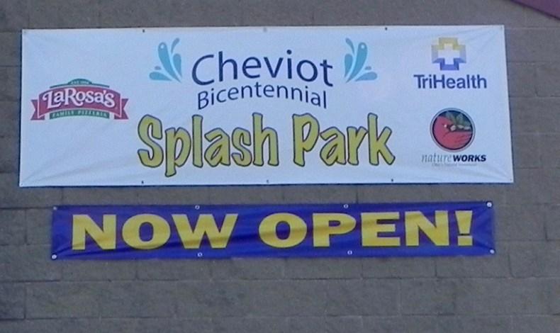 Sign says Cheviot Bicentennial splash park now open