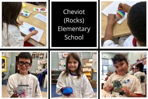 collage of pictures featuring children painting rocks and holding rocks they have painted