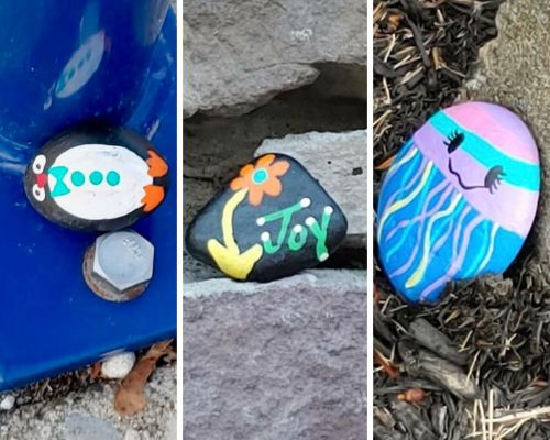 one rock with penguin painted on, one with flower and joy painted on, one with face