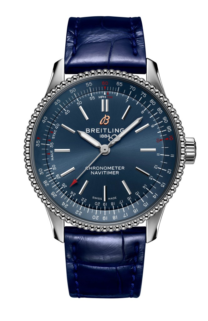 18 Navitimer Automatic 35 With A Blue Dial And A Blue Alligator Leather Strap Ref A17395161c1p1 665x1024