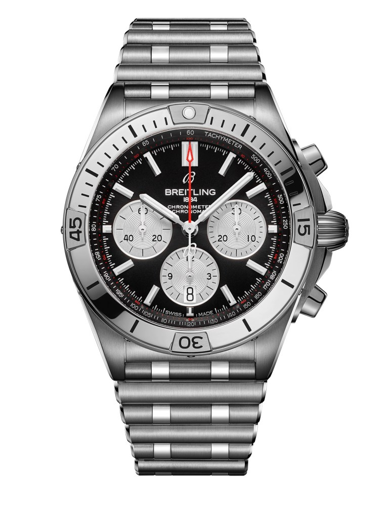 24 Chronomat B01 42 With A Black Dial And Silver Contrasting Chronograph Counters Ref Ab0134101b1a1 751x1024