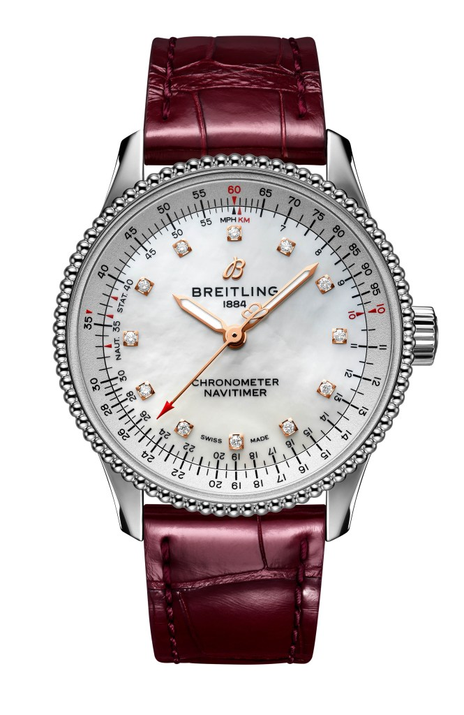 24 Navitimer Automatic 35 With A White Mother Of Pearl Dial With Diamond Hour Markers And A Burgundy Alligator Leather Strap Ref A17395211a1p1 665x1024