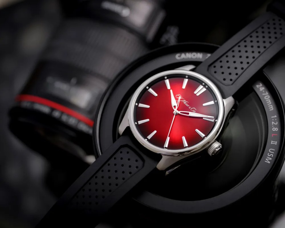 H. Moser Pioneer Swiss Mad Red on camera Pioneer Centre Seconds Swiss Mad Red