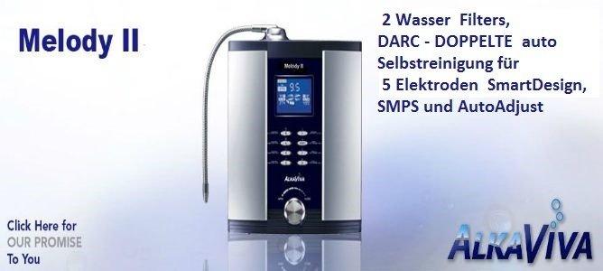 AlkaViva H2 Melody II H2 wasser ionisator : 2 wasser filters, DARC -2 X AutoSelbtreinigung,5 elektroden Smart Design, SMPS und AutoAdjust , H2 wasser