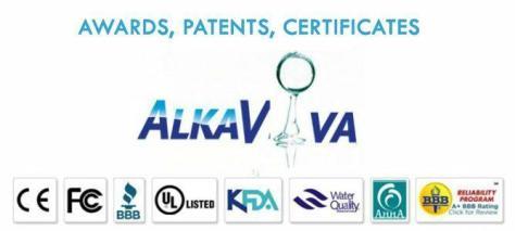 AlkaViva IonWays EmcoTech Jupiter Biontech water ionizers filters purifiers hydrogen generators certificates awards patents