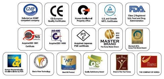 AlkaViva Vesta H2 water ionizer & purifier certifications