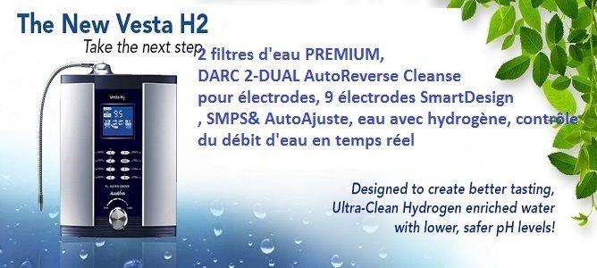 ioniseur d'eau AlkaViva VESTA H2 générateur d'eau avec hydrogène - 2 filtres d'eau PREMIUM, DARC 2 - DUAL AutoReverse Cleanse pour électrodes, 7 électrodes SmartDesign, SMPS & AutoAjuste, infusion d'eau avec hydrogène moléculaire, contrôle du débit d'eau en temps réel