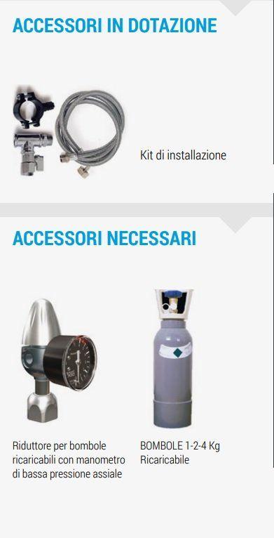 DANUBIO-UP FrigoCarbonatore soprabanco con Sistema ad Osmosi Inversa accesori