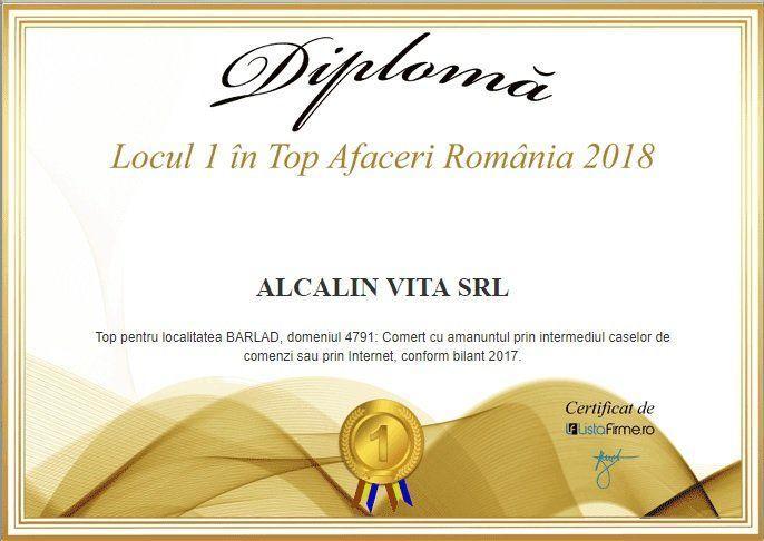 locul 1 top Afaceri Romania 2018 Alcalin Vita SRL
