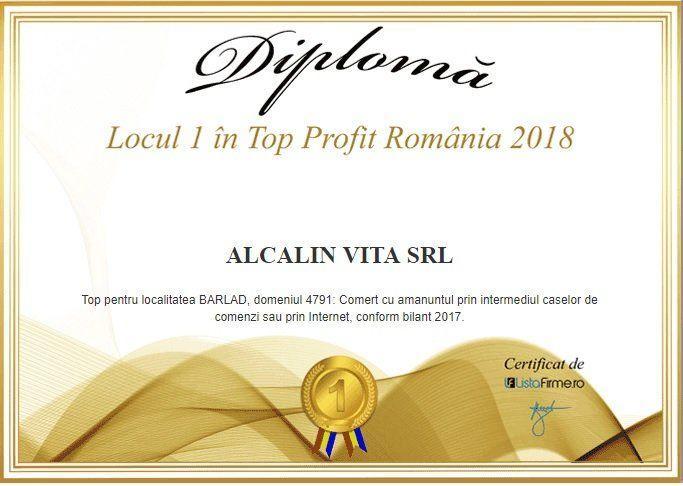 locul 1 top profit Romania 2018 Alcalin Vita SRL