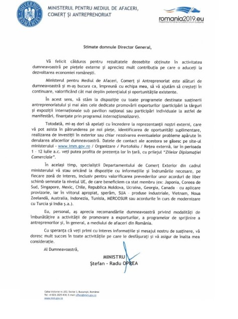 scrisoare multumire ministrul afaceri comert si antreprenoriat