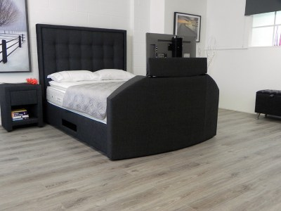Hudson TV Waterbed headboard in black fabric showing TV
