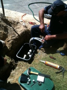 Electrician working on submersible bore in Perth