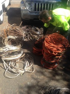 Different types of old electrical cable