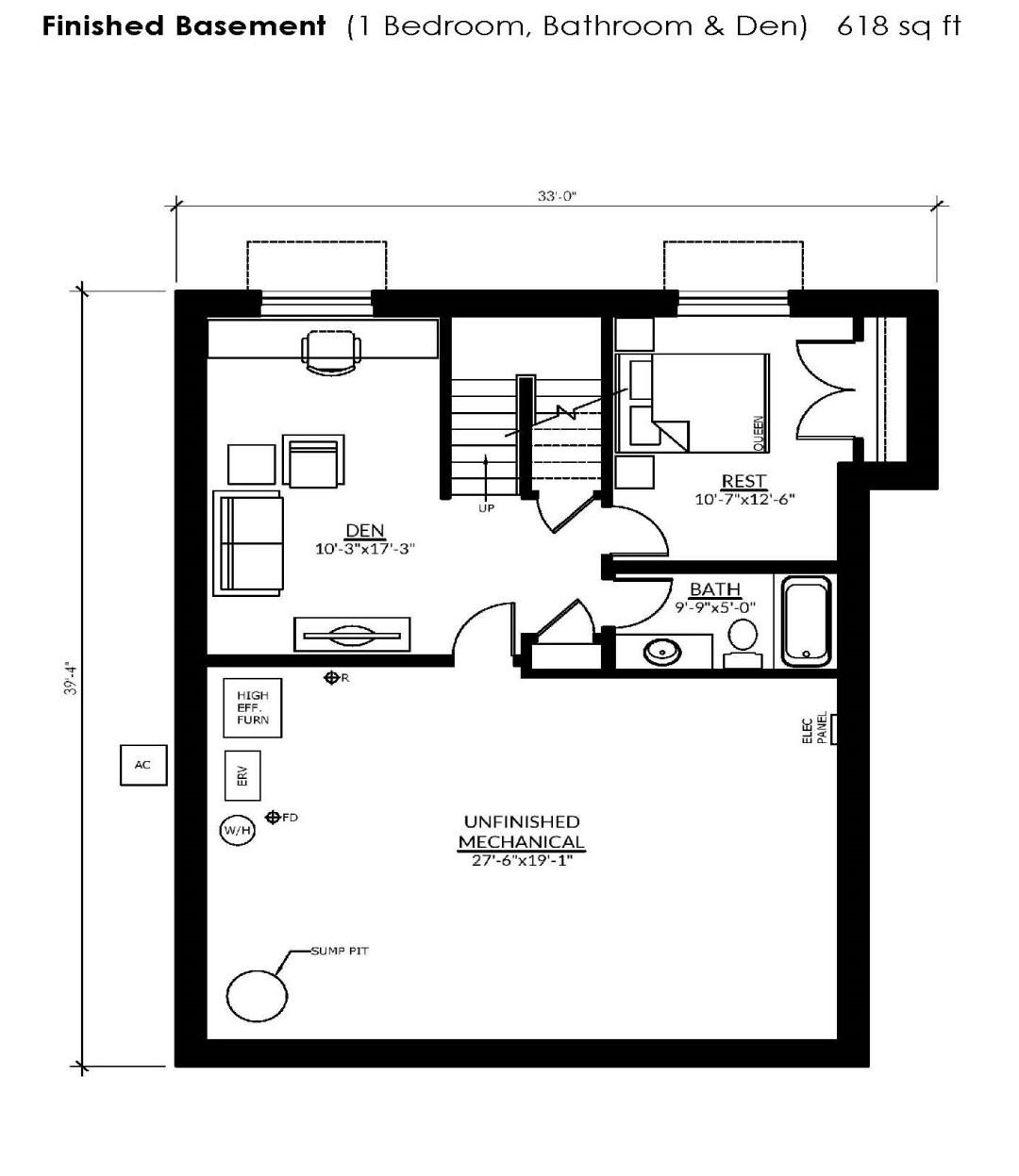 The basement floorplan of the Rideau with a loft at Watercolour Westport.