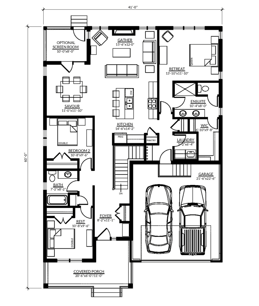 The main floorplan of the Opinicon at Watercolour Westport.