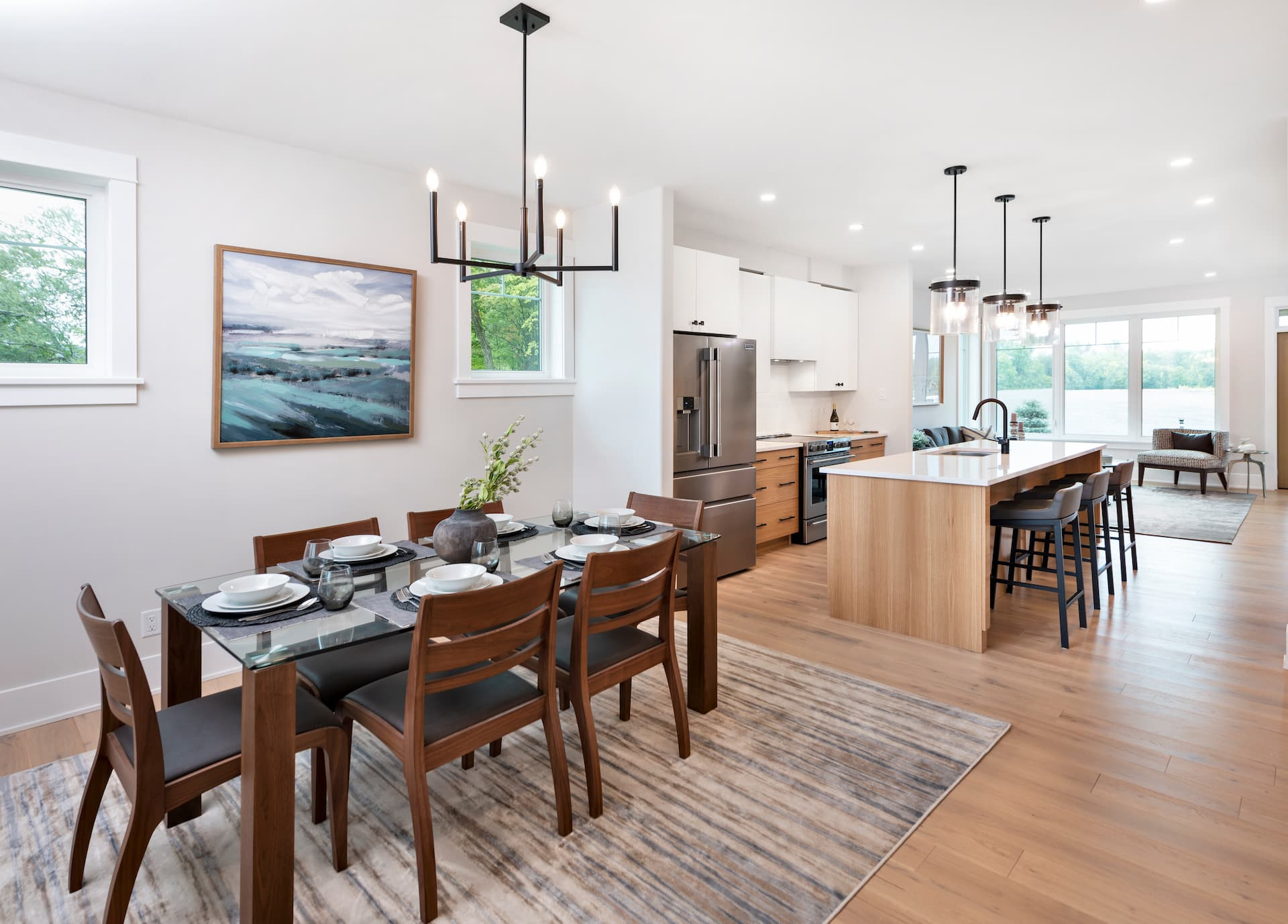 A model kitchen and dining room at Watercolour Westport.