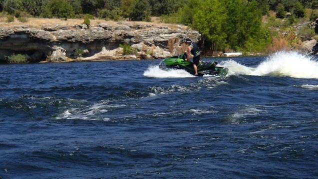 Lake Travis TX JetSki up to Pace Bend Park. August 08-2015 lake level at 670