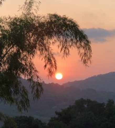 sunset from waterfall Villas