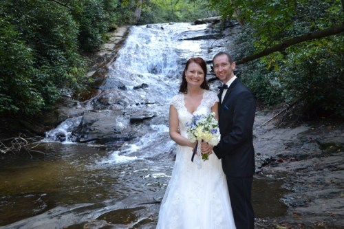 Waterfall Weddings Couple at Helton Creek Falls