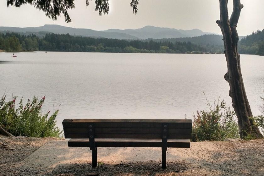 bench at lakeside