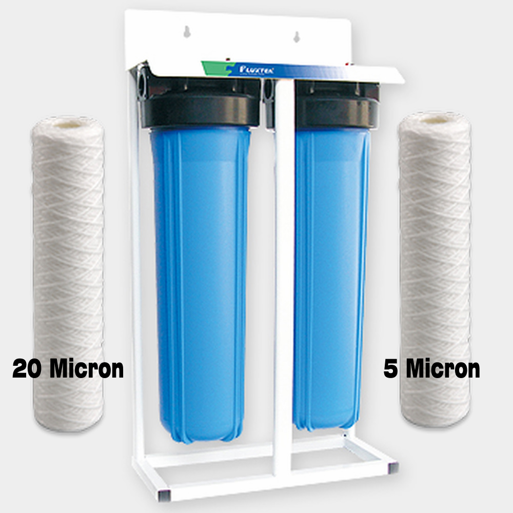 "Skid Mounted Whole House Big Blue High Flow Twin 20"" x 4.5"" Water Filter System with Sediment Cartridges"