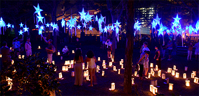 Celebrate at WaterFire in the Starry, Starry Night installation, photo by John Nickerson