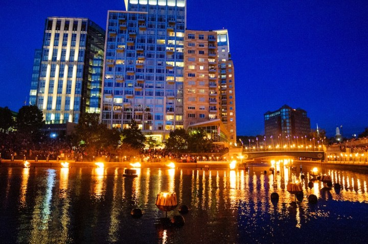 2014 WaterFire Providence Event Schedule. Fires lit in Waterplace Park. Photo by Jeffrey Stolzberg.