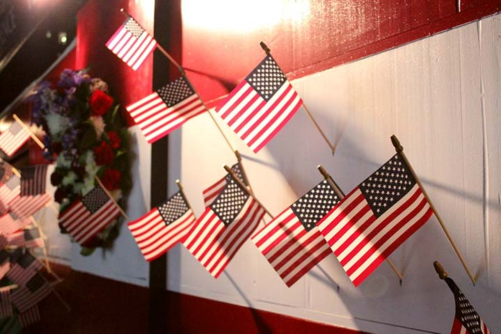 Flag display at the 2015 Veterans Resource Fair, photograph by Paul Struck.