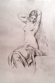 "Master copy of Hippolyte Flandrin's ""Seated Female Nude"""