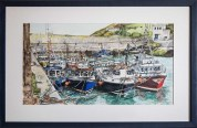 PAULA TAYLOR Safe Harbour, Helvick, Co Waterford (Watercolour 41x83cm framed)