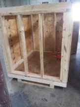 This is where we put the employees who misbehave! Just kidding. Custom crates to ship the Maryland Mi Cocina Chandeliers.