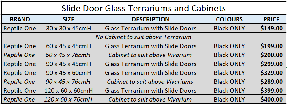 Slide Glass Door Terrariums and Cabinets