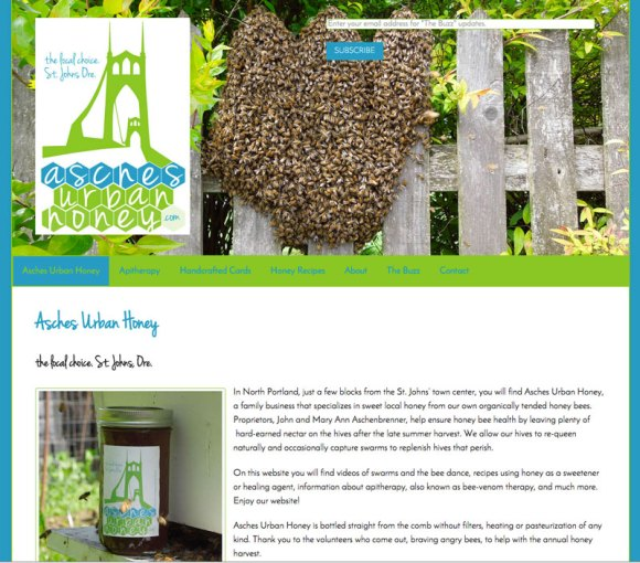 Screenshot of Asches Urban Honey website showing swarm of bees on picket fence and company logo..